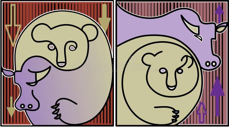Bull and bear. Finance illustration of stock market: bull and bear stock illustration