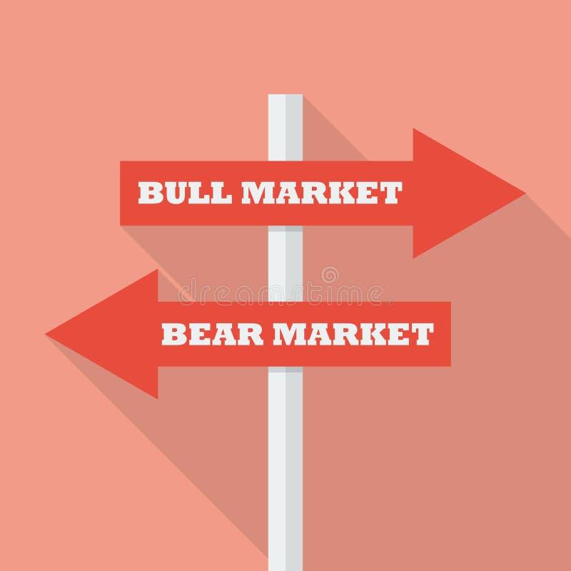 Bull and bear market street sign royalty free illustration