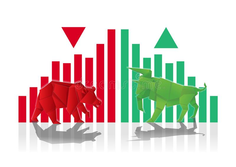 Bull and Bear Paper art with Green and Red bar chart and arrow f stock illustration