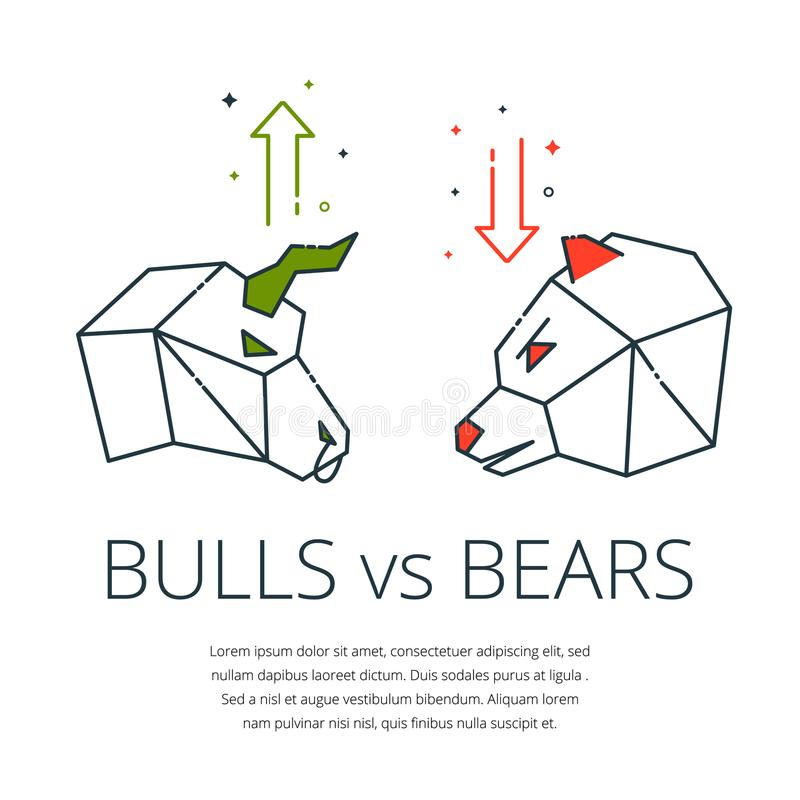 Bull and bear. Traders symbols, bear and bull icon with buy sell arrow - concept for stock market and forex trading, financial vector illustration royalty free illustration