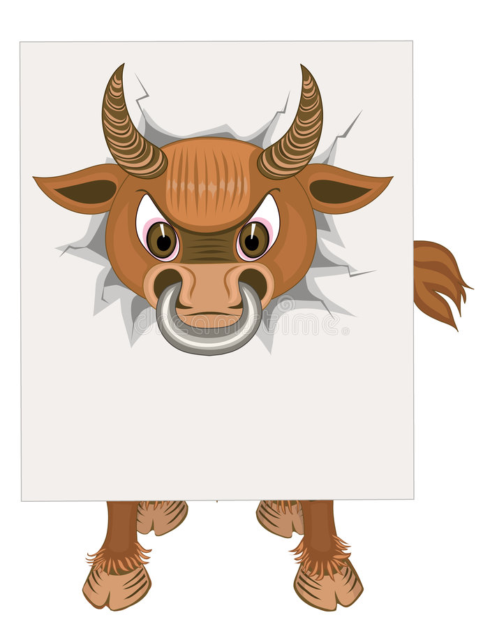 Download Bull with blank paper stock vector. Image of asunder, paper - 5996875