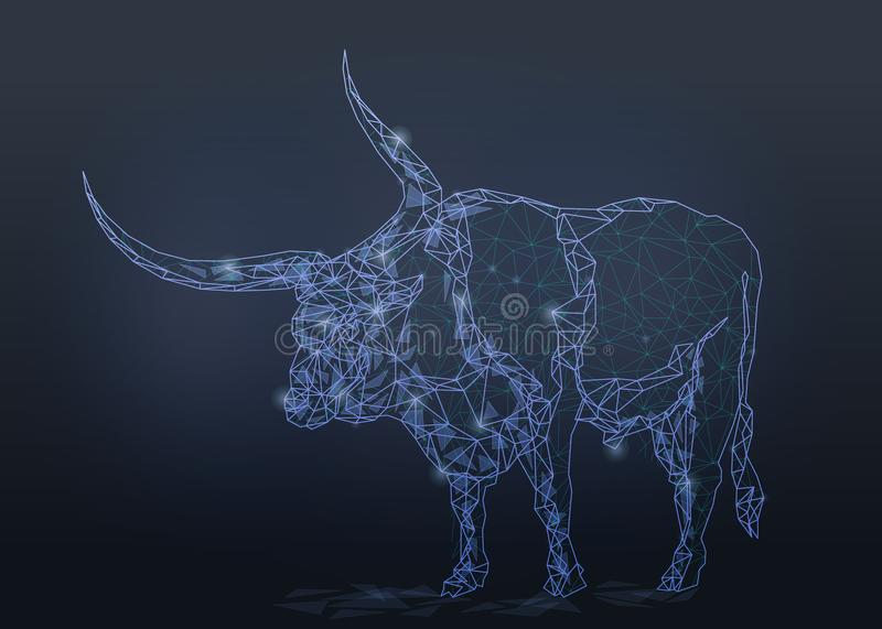 Bull buffalo isolated from low poly wireframe. On dark background. Vector polygonal image in the form of a starry sky or space, consisting of points, lines, and royalty free stock photography