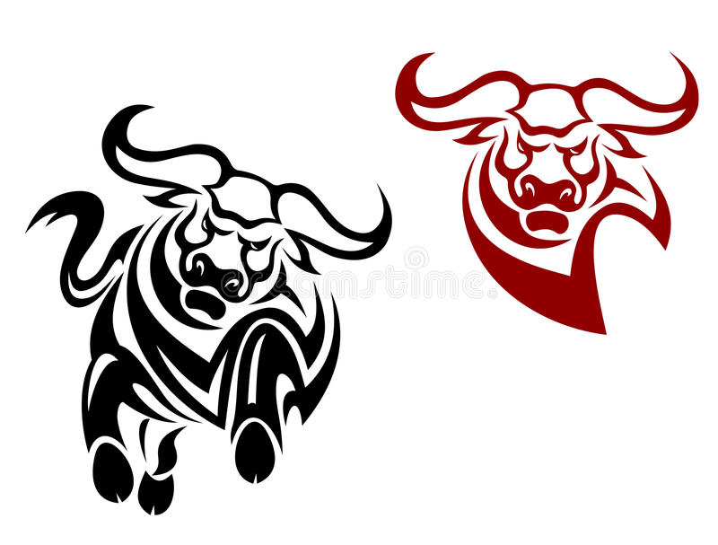Bull and buffalo mascots. Isolated on white background vector illustration