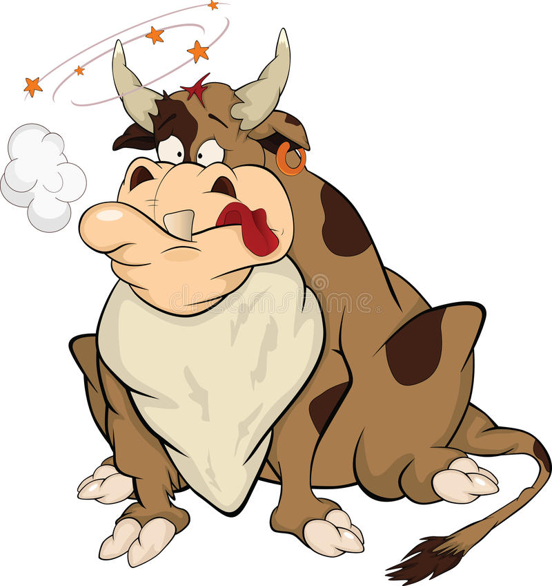 Bull after bullfight. Cartoon royalty free illustration