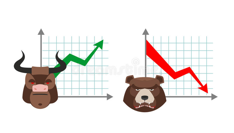 Bull business graph. Growing up green arrow. royalty free illustration