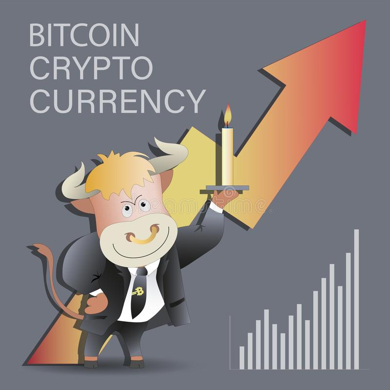 Bull businessman with a candle and growing bitcoin. stock illustration