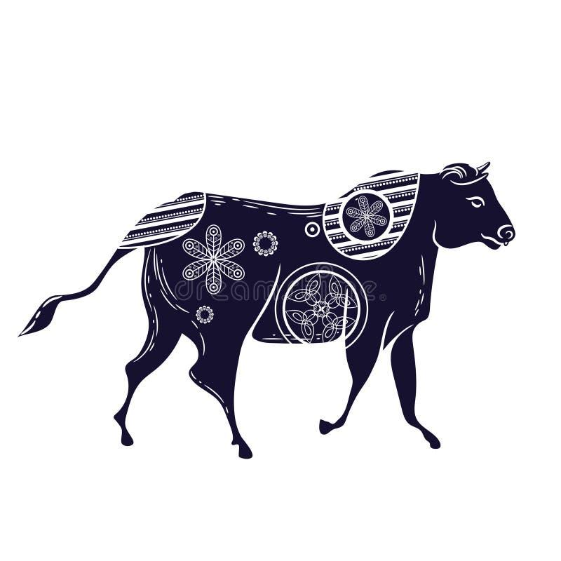 Bull con el estampado de flores Imagen del vector Ganado de cuernos ilustración del vector