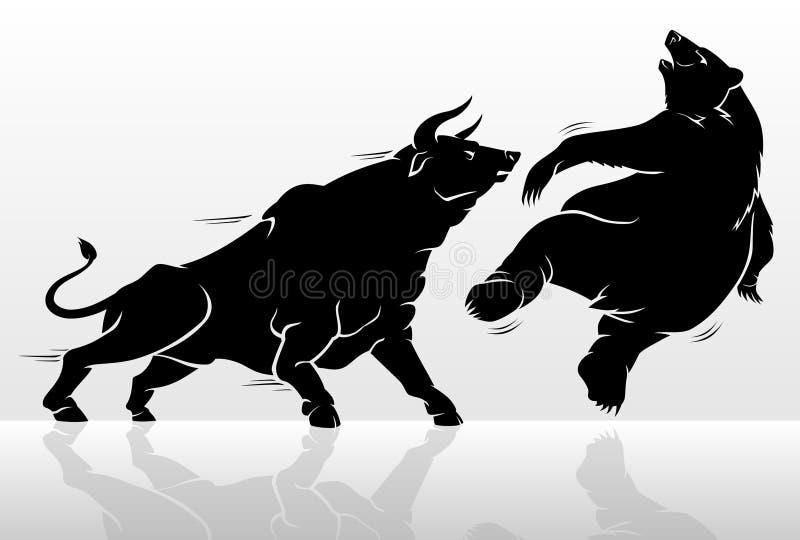 Bull contra o animal do urso ilustração royalty free
