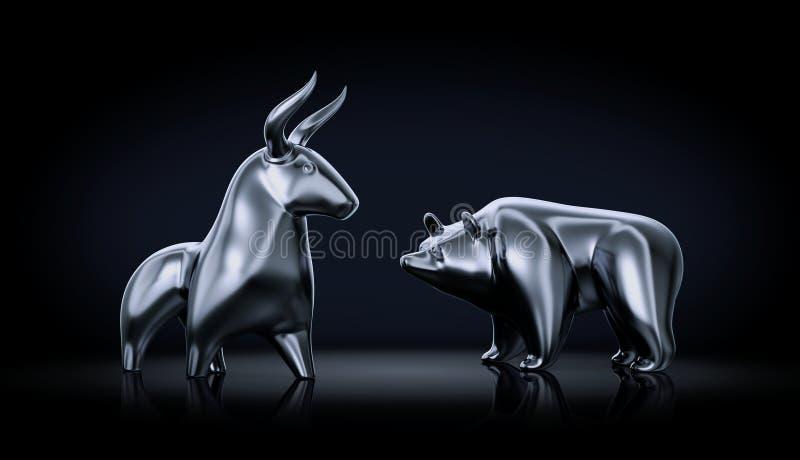 Bull contra oso ilustración del vector