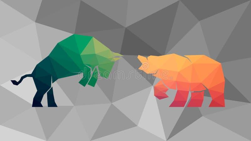 Bull contra refiere el fondo poligonal ilustración del vector