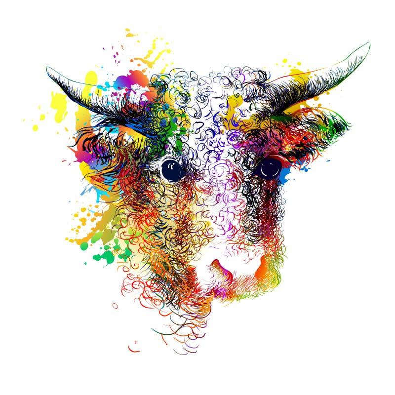 Bull, cow, bison, buffalo head portrait. Digital colourful painting stock illustration