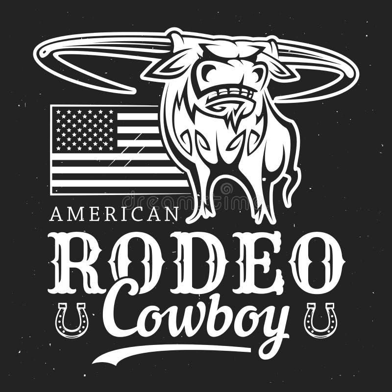 Bull cowboy rodeo, American flag and horseshoe stock illustration
