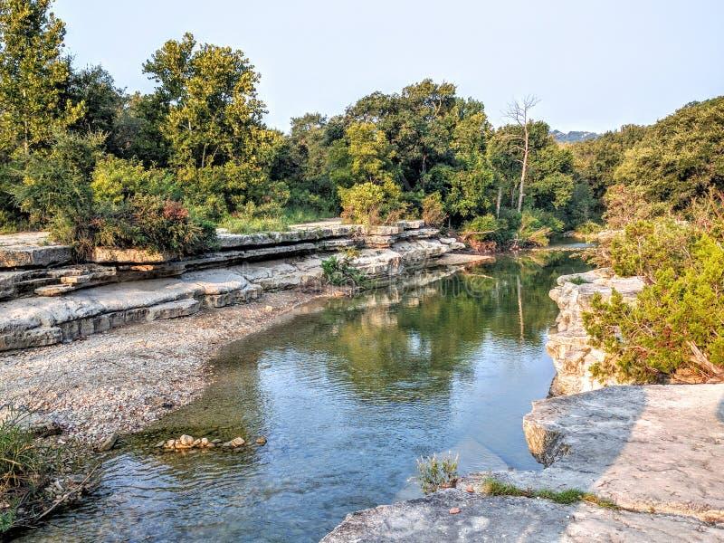 Bull Creek in Austin TX. Water stream in bull creek in Austin TX stock photography