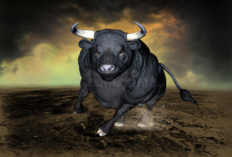 Bull de carga, símbolo de Stret de la pared libre illustration