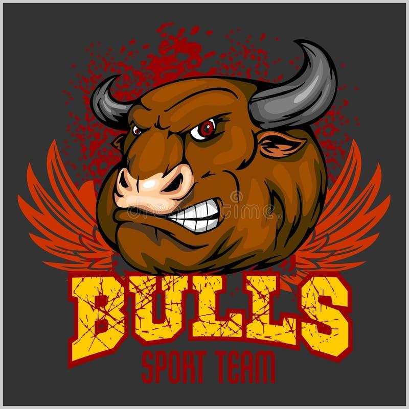 Bull dirige la mascota - vector el ejemplo para el deporte stock de ilustración