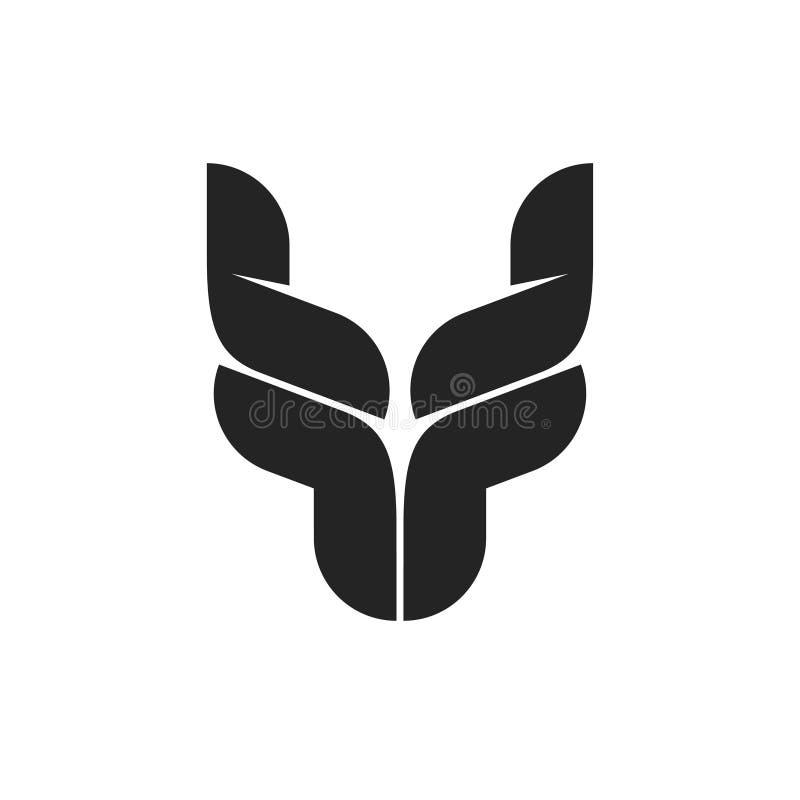 Bull dirige o símbolo do logotipo, emblema preto dos chifres de touro, forma principal do boi, logotype do gado da criação de ani ilustração do vetor