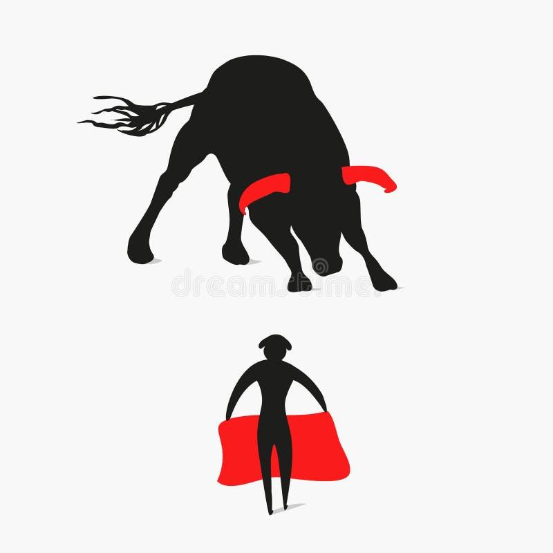 Bull e matador ilustração do vetor