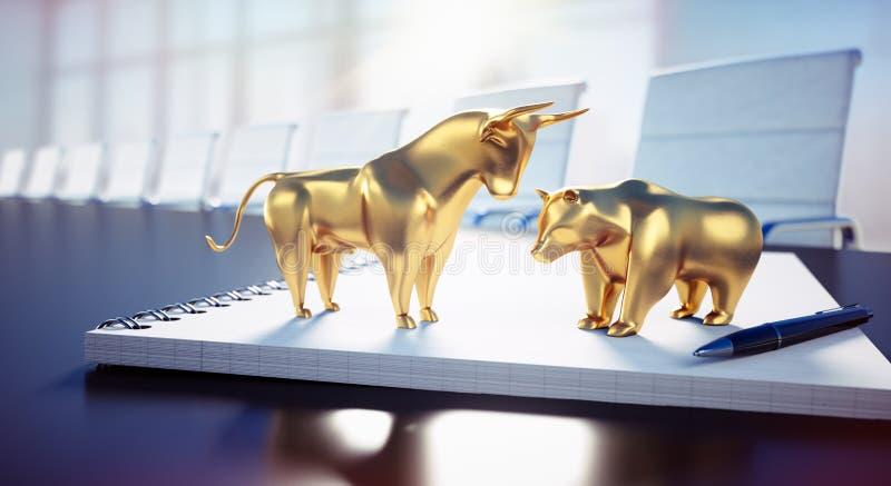 Bull e urso em uma mesa em uma sala de reunião - ilustração 3D ilustração royalty free