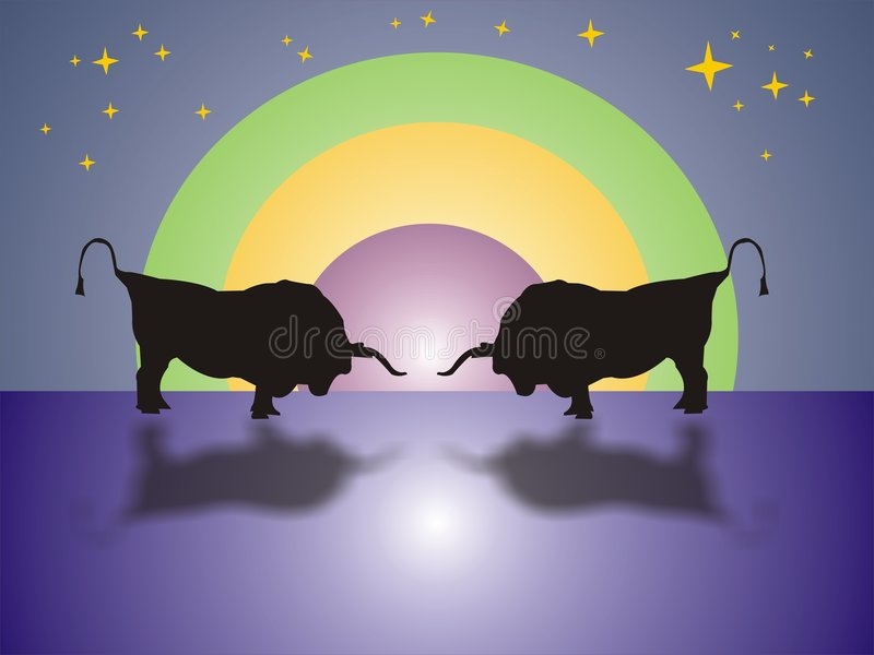 Download Bull Fight In The Night Stock Photos - Image: 1707163
