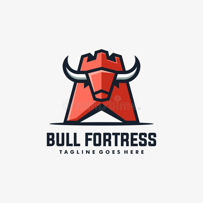 Bull Fortress Concept illustration vector Design template stock illustration