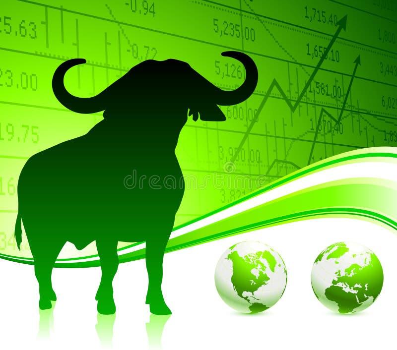 Bull on green business background stock illustration
