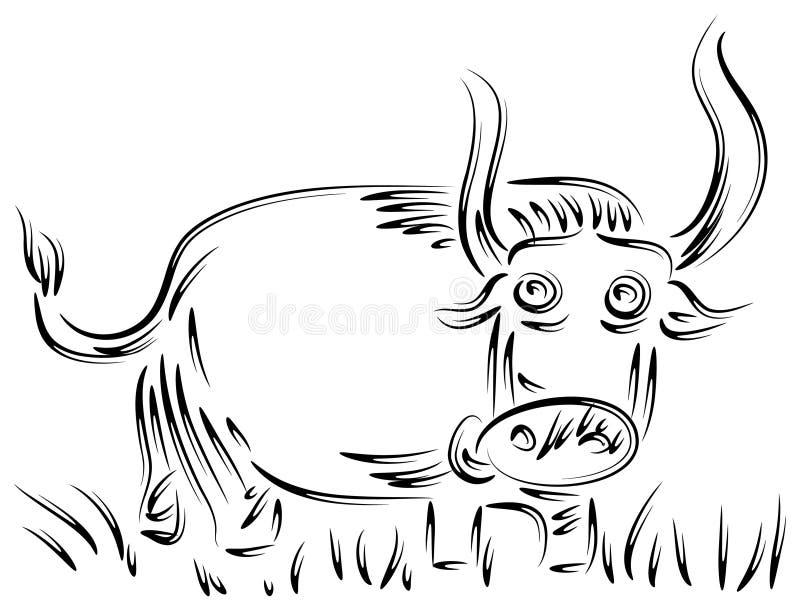 Bull in gross field royalty free illustration