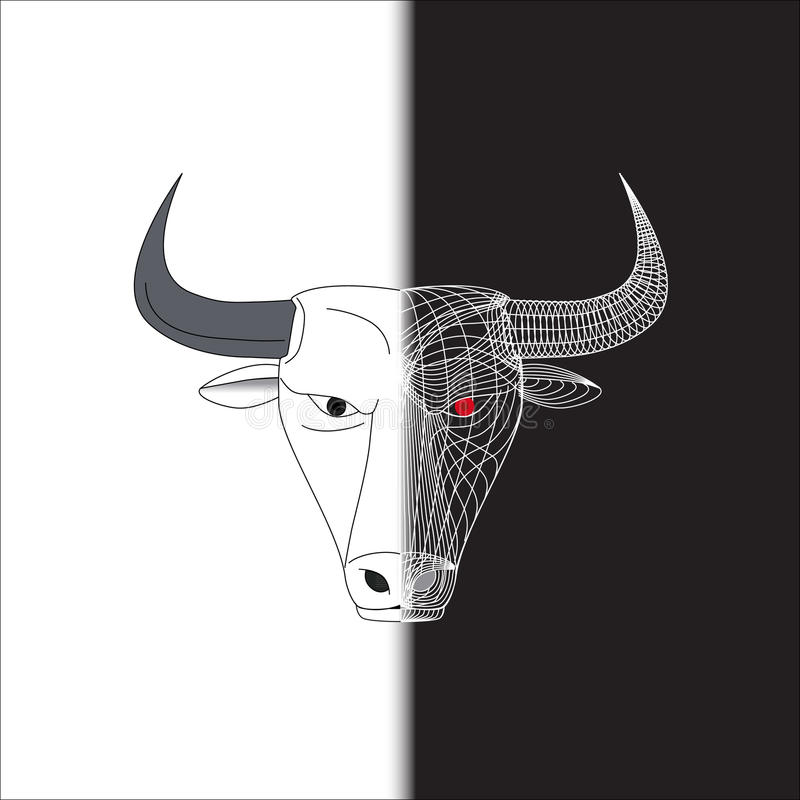 Bull half wire face stock images