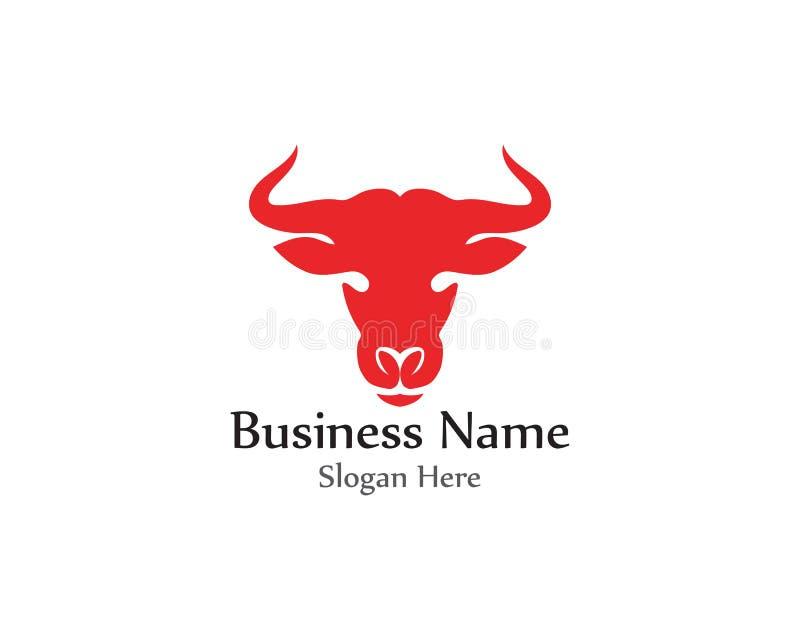 Bull head horn red logo animal vector stock illustration