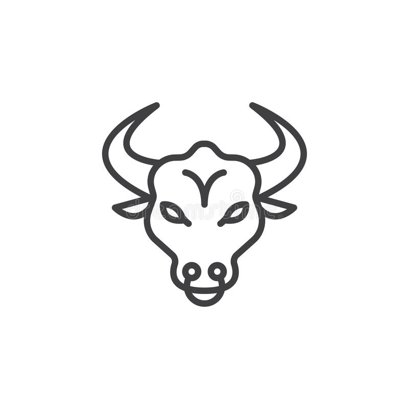 Bull head line icon, outline vector sign royalty free illustration