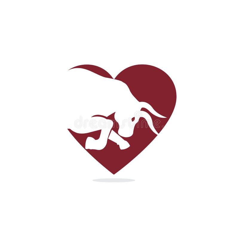 Bull heart shape vector logo design. Simple animal vector logo design template royalty free illustration