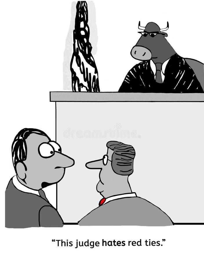 Bull judge does not like red stock illustration