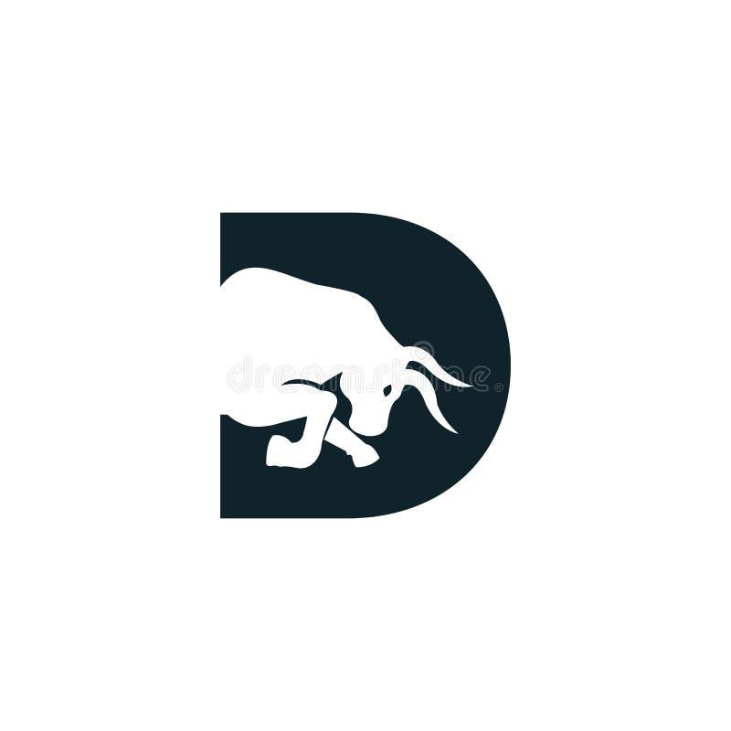 Bull letter D vector logo design. Simple animal letter D vector logo design template stock illustration