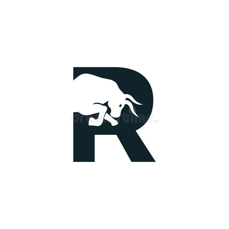 Bull letter R vector logo design. Simple animal letter R vector logo design template vector illustration