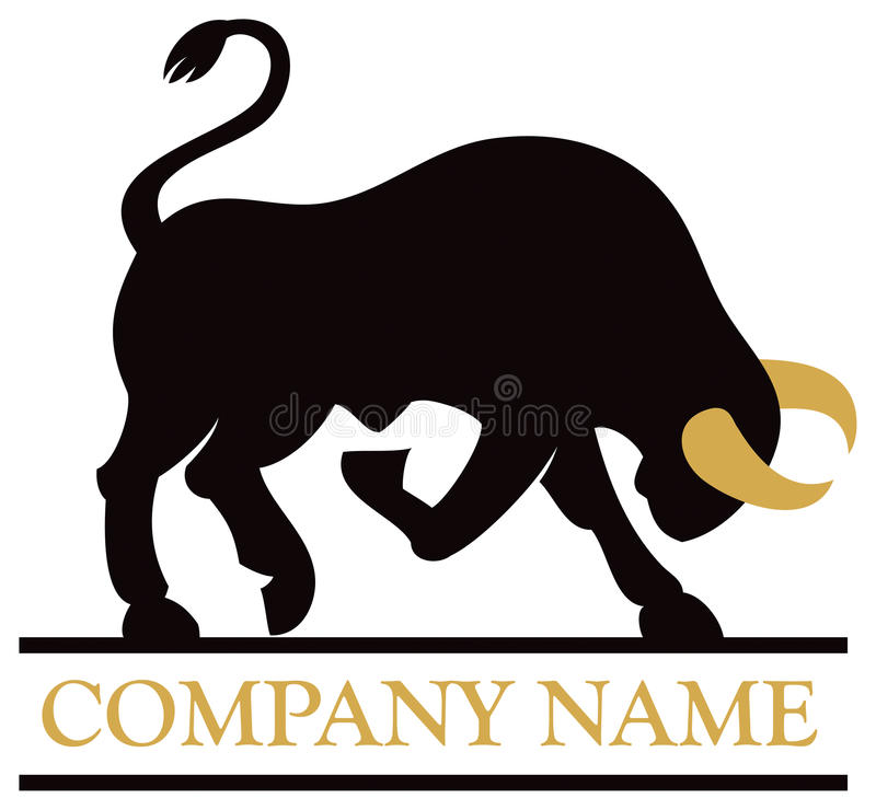 Bull Logo. A bull charges with its horns in this logo icon image