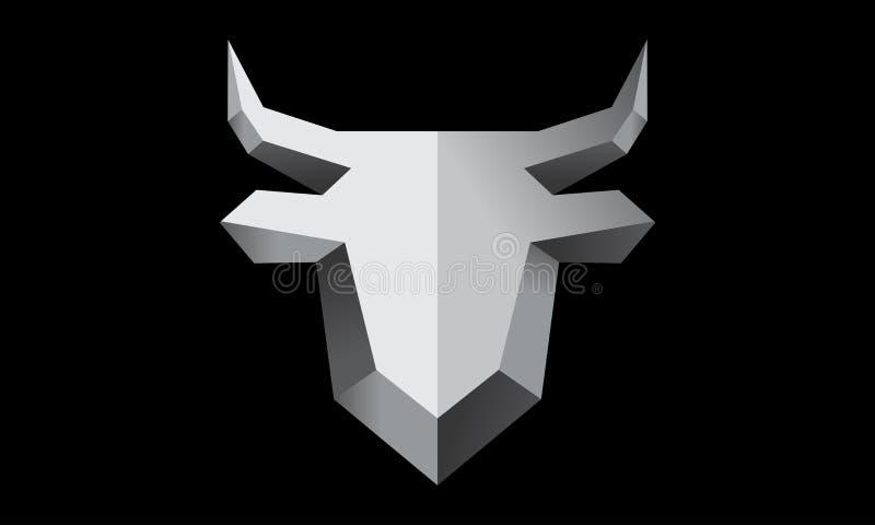 Bull Logo Design metálico imagen de archivo