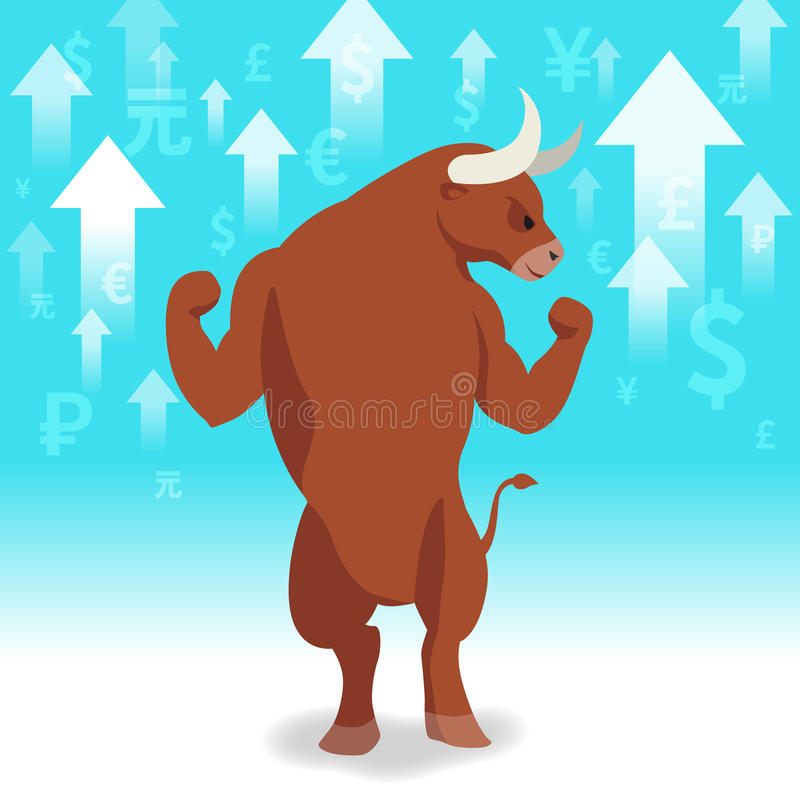 Bull market presents uptrend stock market concept. With up arrow and currency on green blue background stock illustration