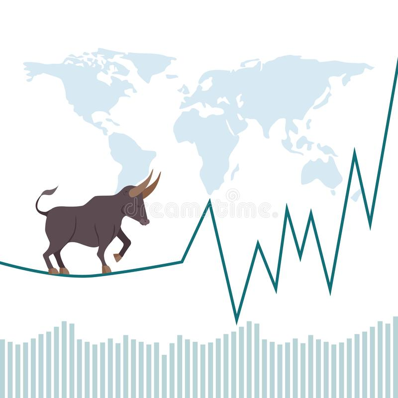 Bullish market. Bull rears up on a growth graph of stock market investing profit chart. Vector. Bull market risk financial concept as a heavy bullish beast vector illustration