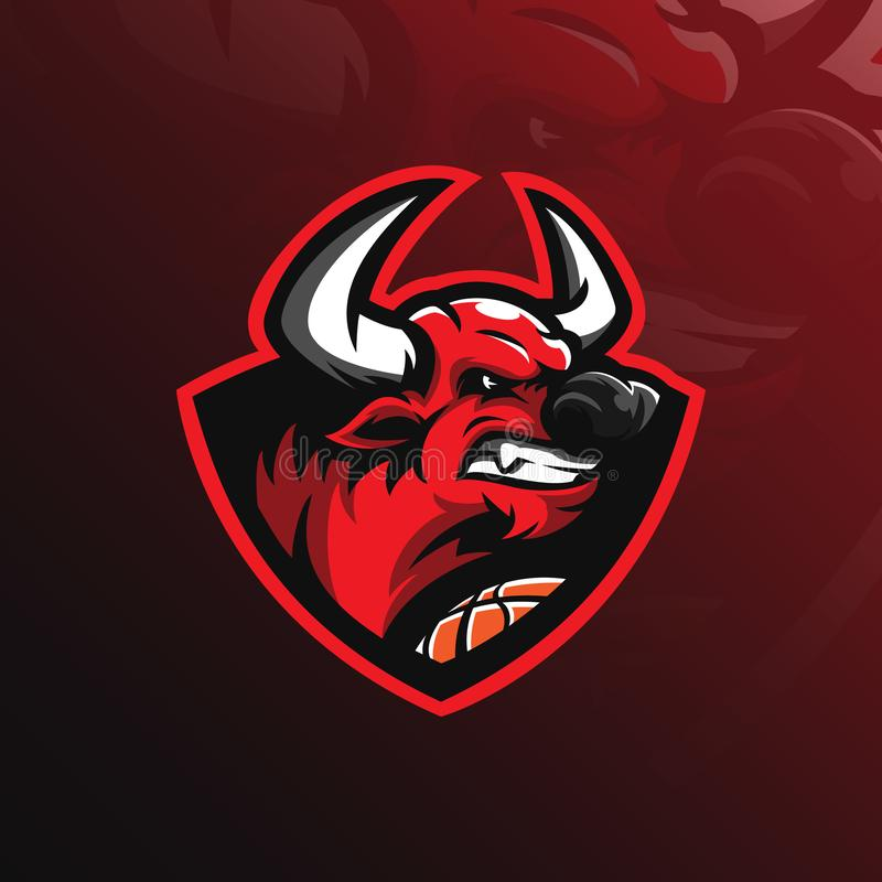Bull mascot logo design vector with modern illustration concept style for badge, emblem and tshirt printing. angry bull vector illustration
