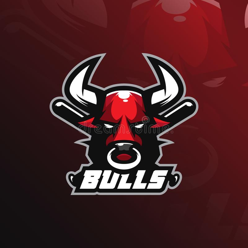 Bull mascot logo design vector with modern illustration concept style for badge, emblem and tshirt printing. bull illustration vector illustration
