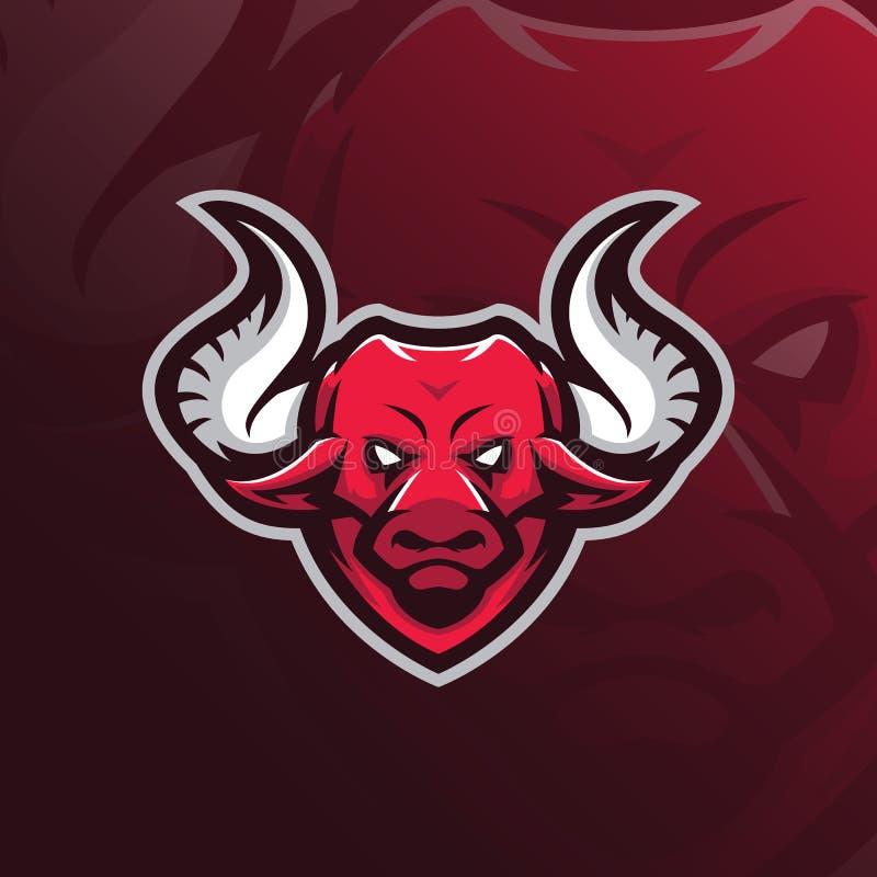 Bull mascot logo design vector with modern illustration concept style for badge, emblem and tshirt printing. head bull stock illustration