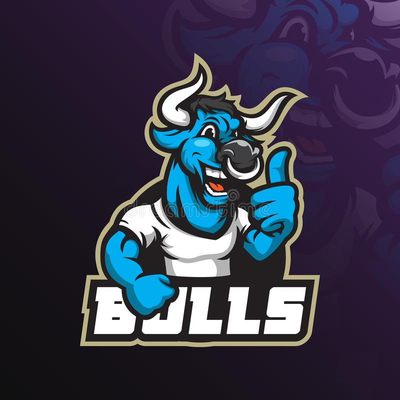 Bull mascot vector logo design with modern illustration concept style for badge, emblem and tshirt printing. friendly bull royalty free illustration