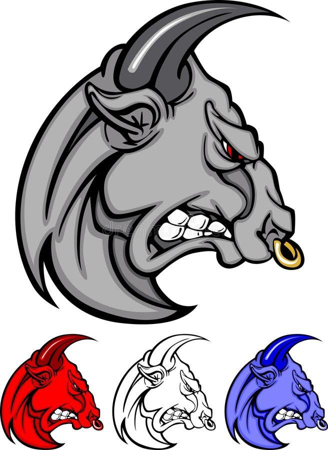 Bull-Maskottchen-vektorzeichen lizenzfreie abbildung