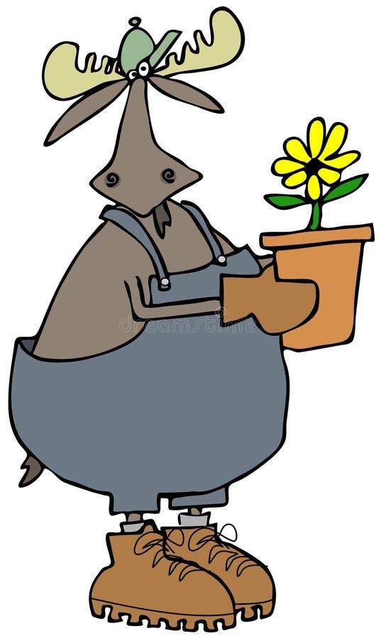 Bull moose gardener vector illustration