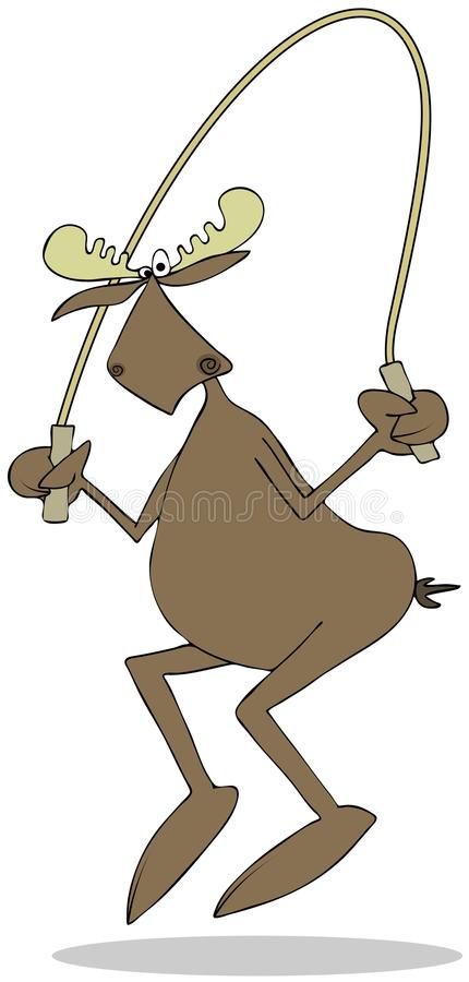 Bull moose jumping the rope vector illustration