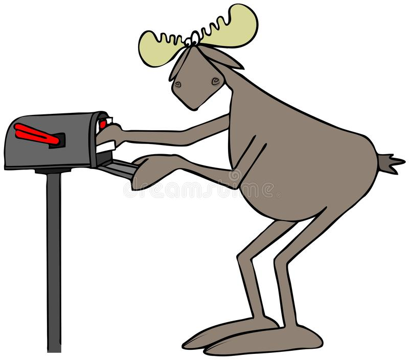 Bull moose mailing a letter. Illustration of a bull moose putting a stamped letter in a rural mailbox vector illustration