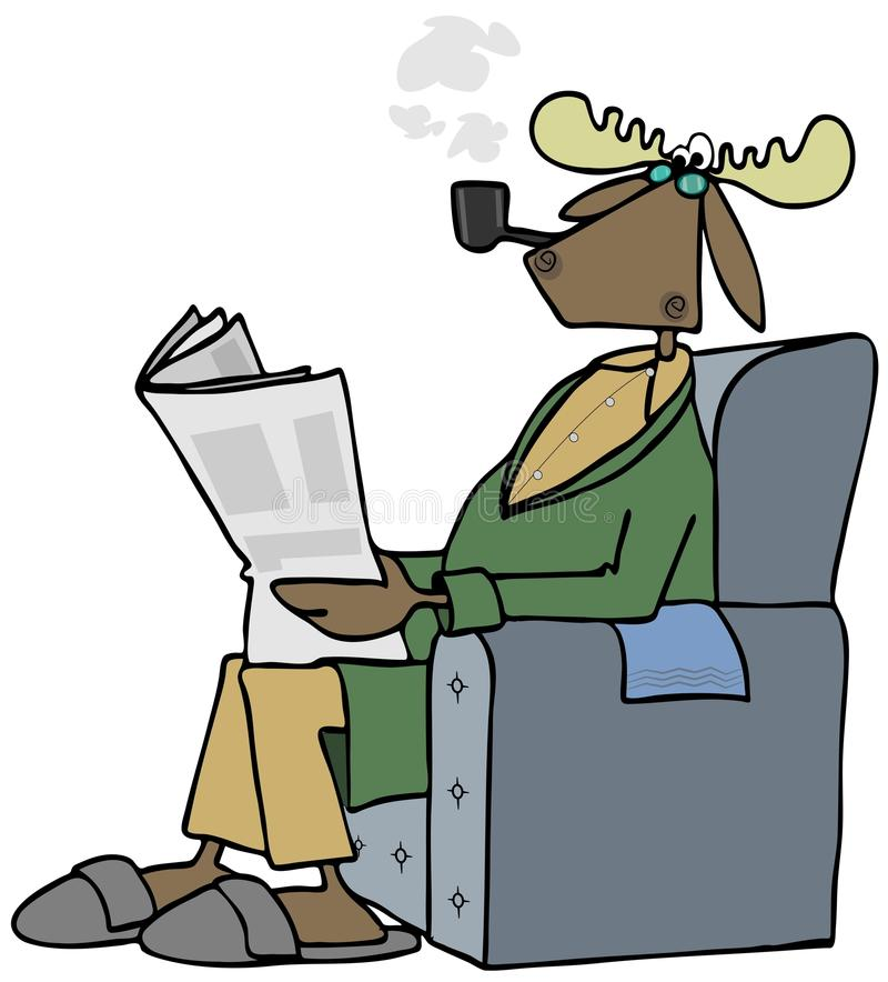 Bull moose reading a newspaper stock illustration