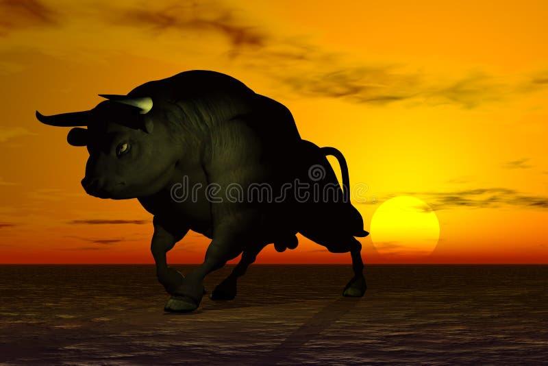Bull negra stock de ilustración