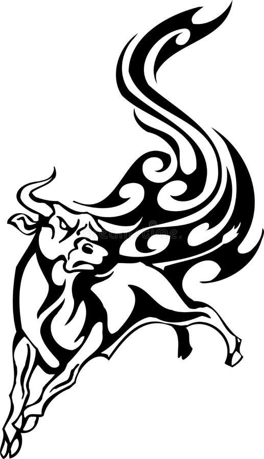 Bull no estilo tribal - imagem. ilustração stock