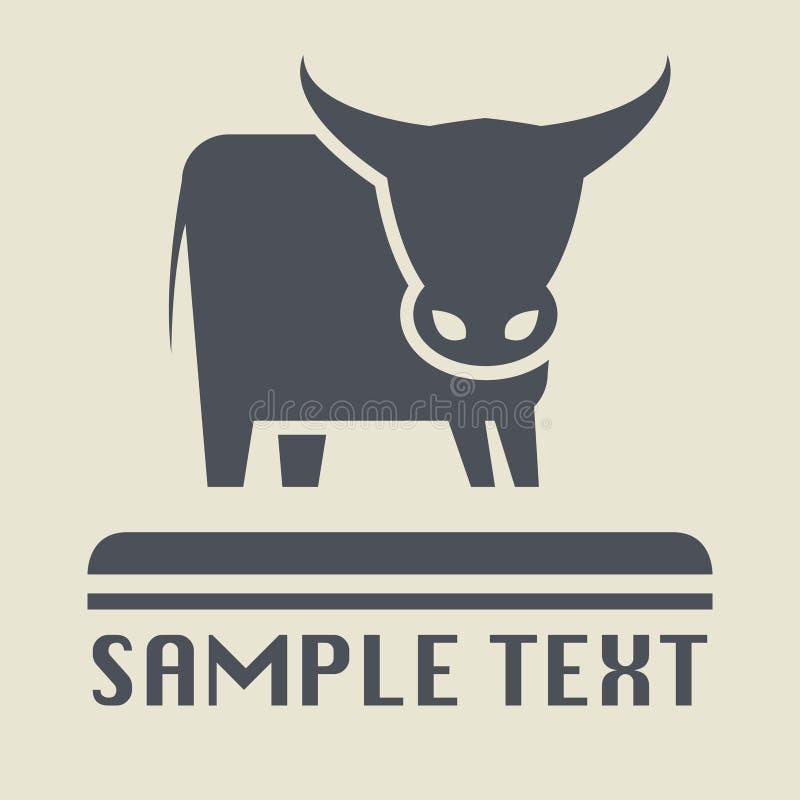 Bull o icono o muestra de la vaca stock de ilustración