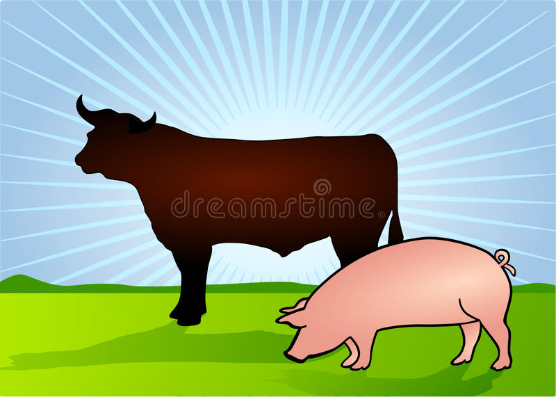 Download Bull and Pig stock vector. Image of bull, butcher, meat - 13392431